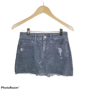 American Eagle Gray Frayed Corduroy Mini Skirt 0